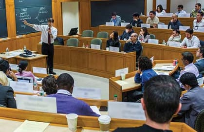 A view inside the HBS Executive Education Classroom